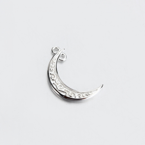 Sterling silver 925 hot-selling scythe moon charms with patterns