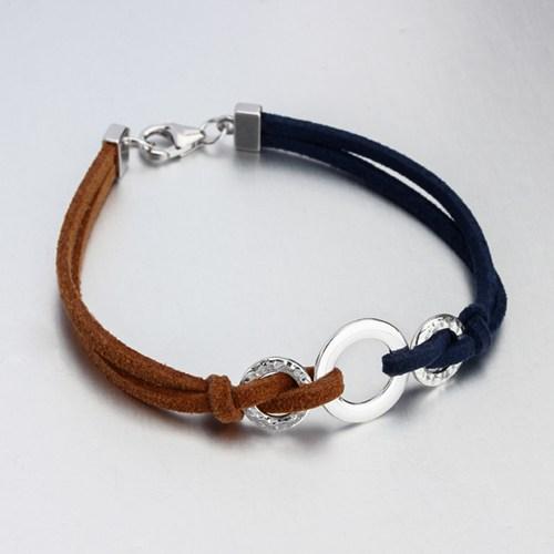 Two Color Leather cord Sterling Silver Hammer Ring Bracelet