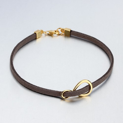 Leather cord sterling silver infinity bracelet