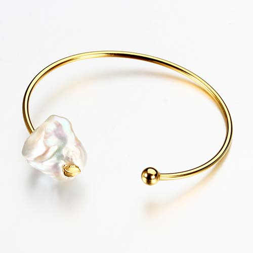925 sterling silver Baroque pearl cuff bangle