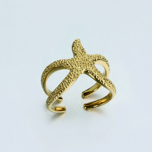 925 sterling silver hammer starfish open ring