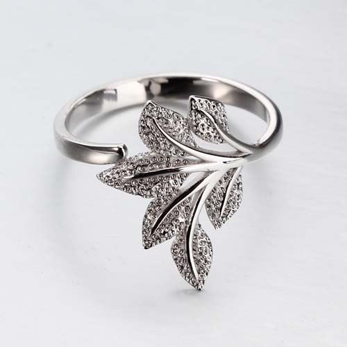 925 sterling silver hammer leaf ring