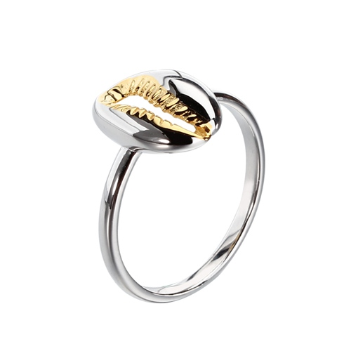 925 sterling silver two tone plated shell ring