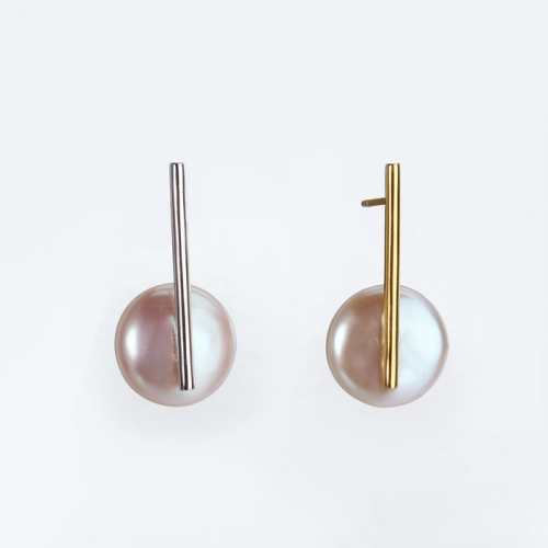Renfook 925 sterling silver bar earring with flat button pearl 2019