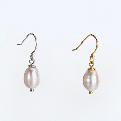 Renfook 925 sterling silver rice shape pearl earring hot selling jewelry 2019