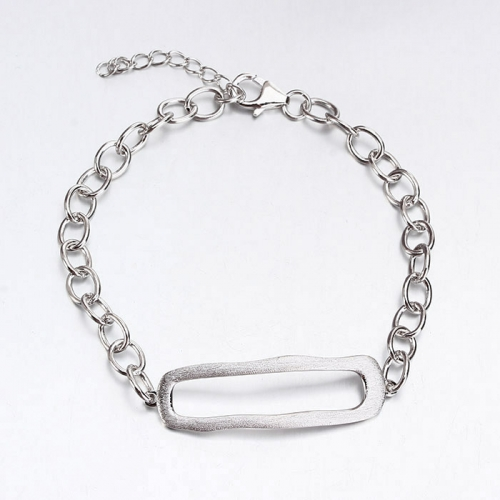 Renfook 925 sterling silver brush surface bracelets for women