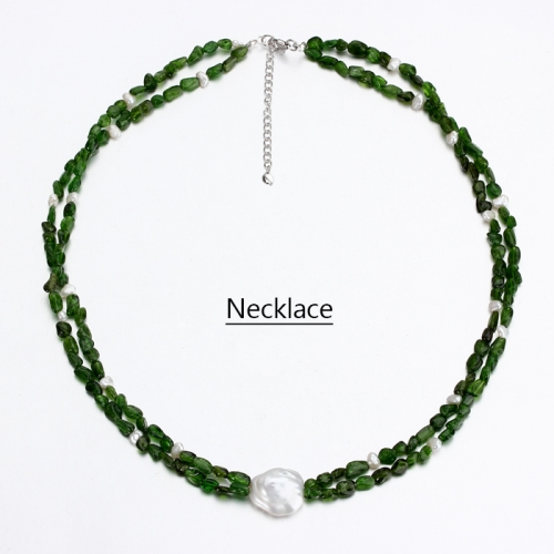 Renfook 925 sterling silver pearl and diopside necklace