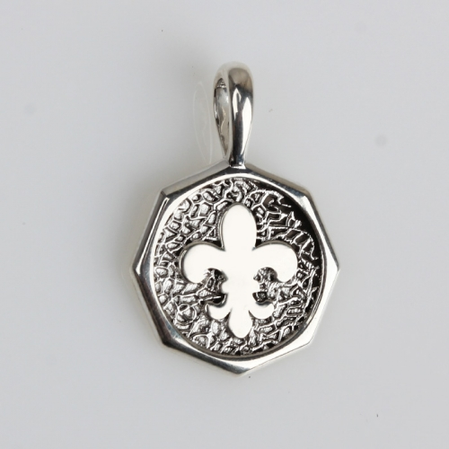 Renfook 925 sterling silver 8 side hammer surface coin pendant