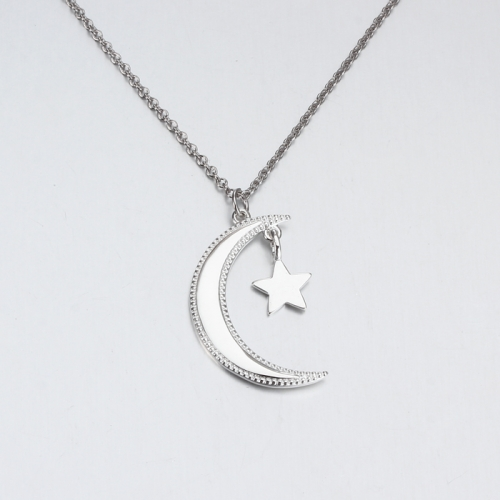 Renfook 925 sterling silver moon and star pendant