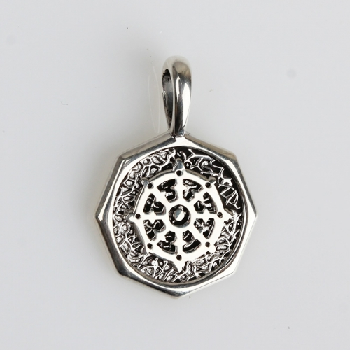 Renfook 925 sterling silver 8 side unique design coin pendant