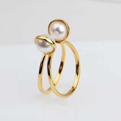 Renfook 925 sterling silver pearl woman ring yellow gold