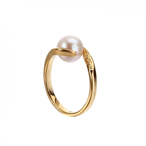 Renfook 925 sterling silver pearl ladies gold plated rings for women