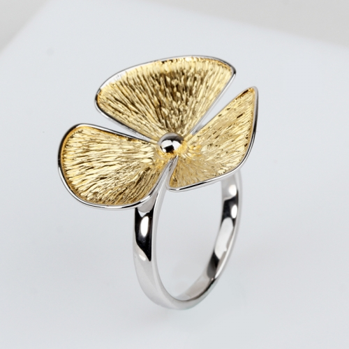 Renfook 925 sterling silver two-tone hammer flower ring