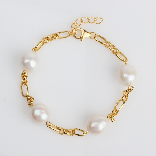 Renfook 925 sterling silver pearl 3+1 figaro cable chain bracelet