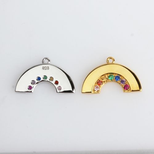 Renfook Sterling silver polish rainbow color stone charm