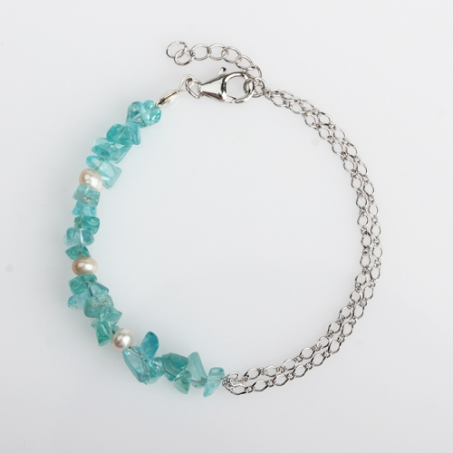 Renfook 925 sterling silver pearl and apatite chain bracelet for women