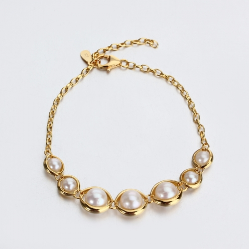 Renfook 925 sterling silver pearl unique bracelet for women