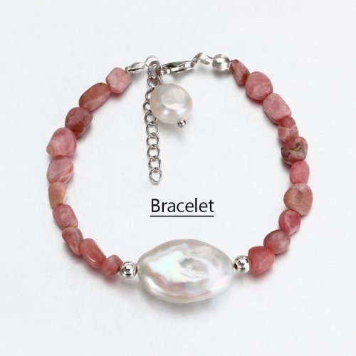 Renfook 925 sterling silver rhodochrosite bracelet for women