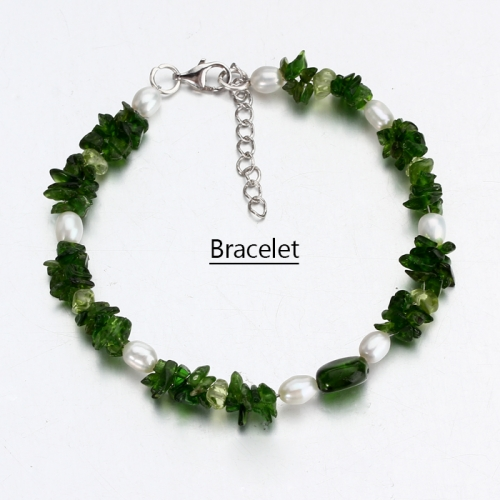 Renfook 925 sterling silver diopside bracelet for women