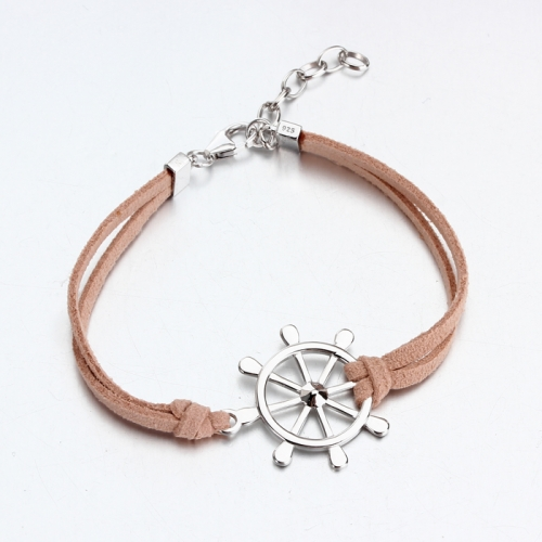 Renfook 925 sterling silver steering wheel charm bracelet for women
