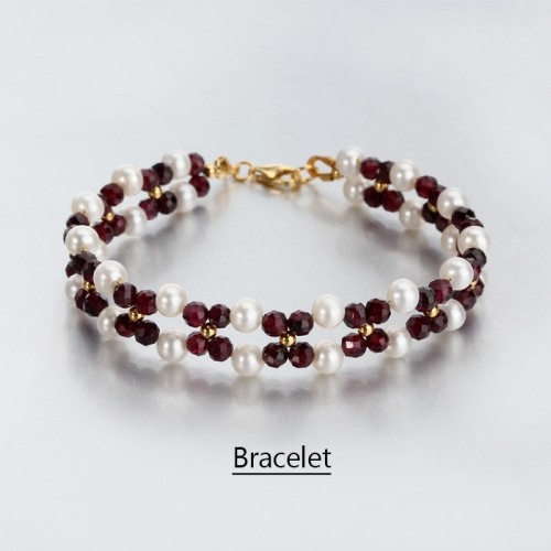 Renfook 925 sterling silver garnet and pearl bracelet for women