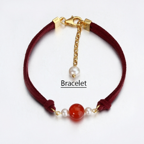 Renfook 925 sterling silver Red Agate and pearl bracelet for women